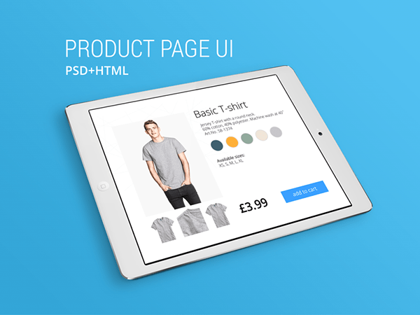 Product Page UI Template Free PSD & HTML