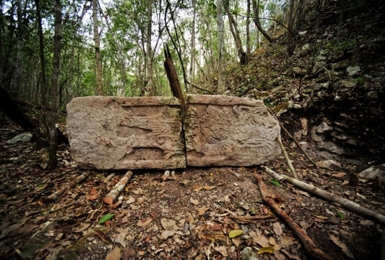 Stele Chactún Maya Mayan ancient lost city Mexico Campeche archaeology
