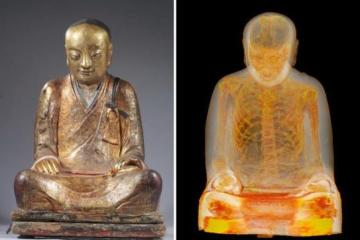 Monk's remains within Buddha statue (photo by M. Elsevier Stokmans)