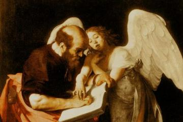 Caravaggio - The Inspiration of St Matthew