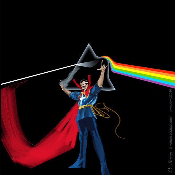 Pink Floyd's Dark Side of the Moon cover, with Dr Strange added