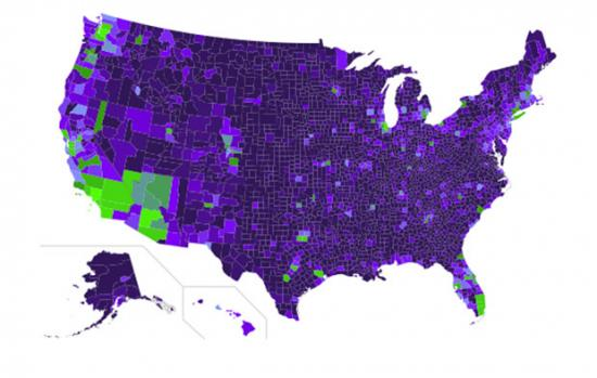 Map of UFO sightings by county in the U.S.