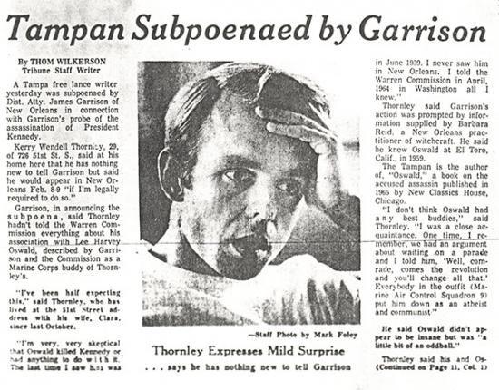 Newspaper clipping on Kerry Thornley's subpoena from Jim Garrison