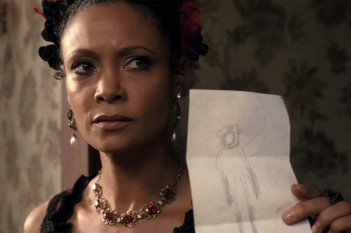 Maeve shows her abduction drawing to Hector in Westworld