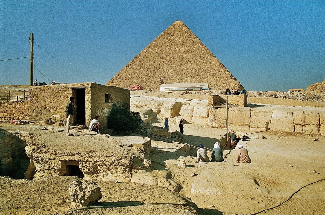 "The vicinity of the well-shaft leading to the ""Tomb of Osiris"" on the Giza Plateau"