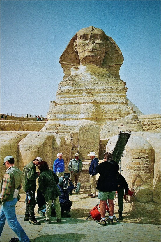 Zahi Hawass preparing for interview in front of the Great Sphinx