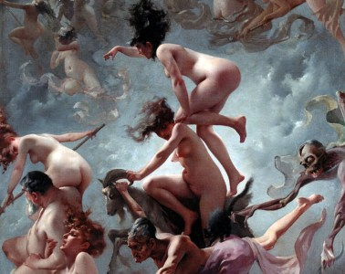 Witches flying and riding goats to Sabbat