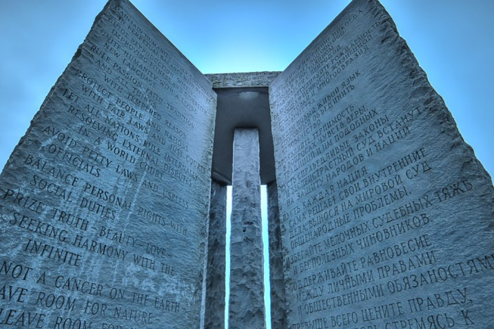 The Georgia Guidestones (Image by Dina Supino, Creation Commons Share Alike licence)