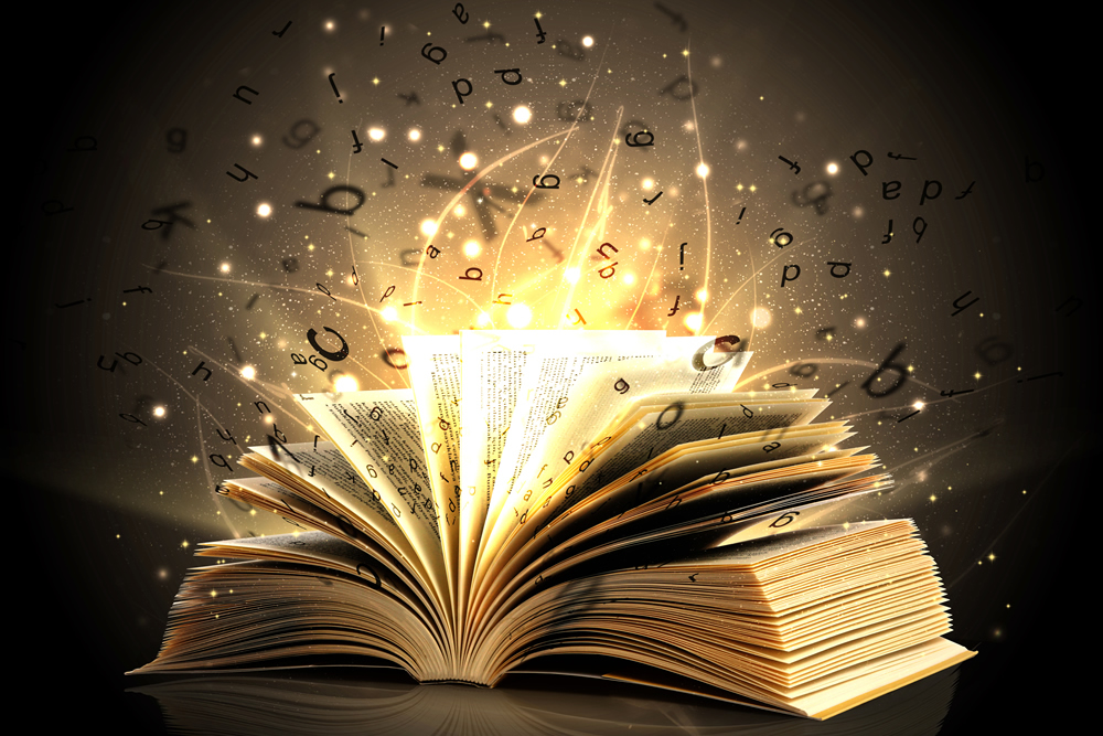 Word magic erupting out of a book
