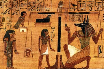 Egyptian papyrus showing Anubis and the weighing of the heart ceremony