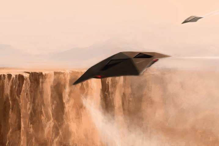Spaceships flying low over a canyon - illustration by Alex Andreev