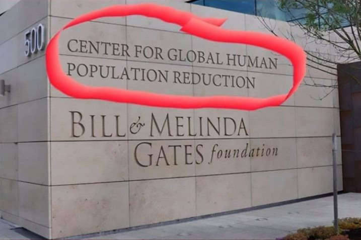 Hoax image shows 'Center for Global Human Population Reduction'