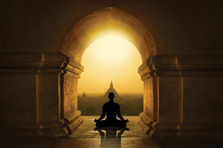 Buddhist contemplative meditating