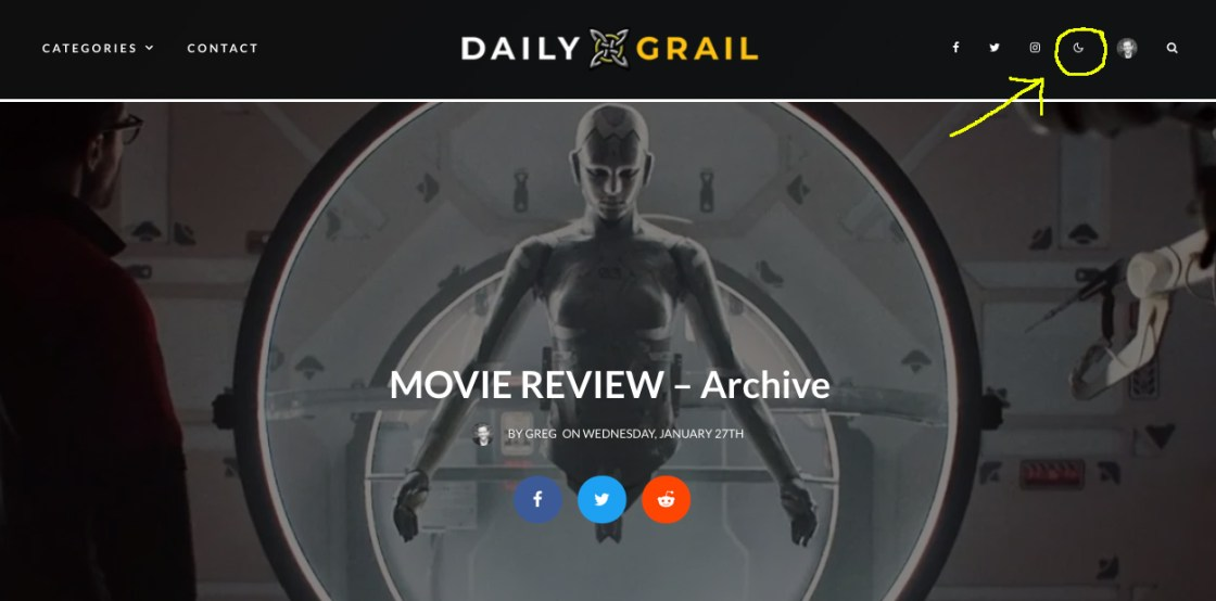 Location of the night mode button on the Daily Grail