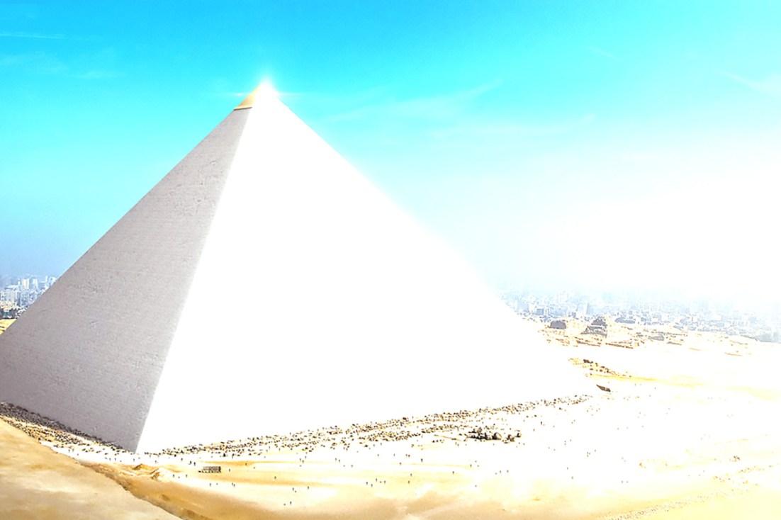 Great pyramid reflecting light