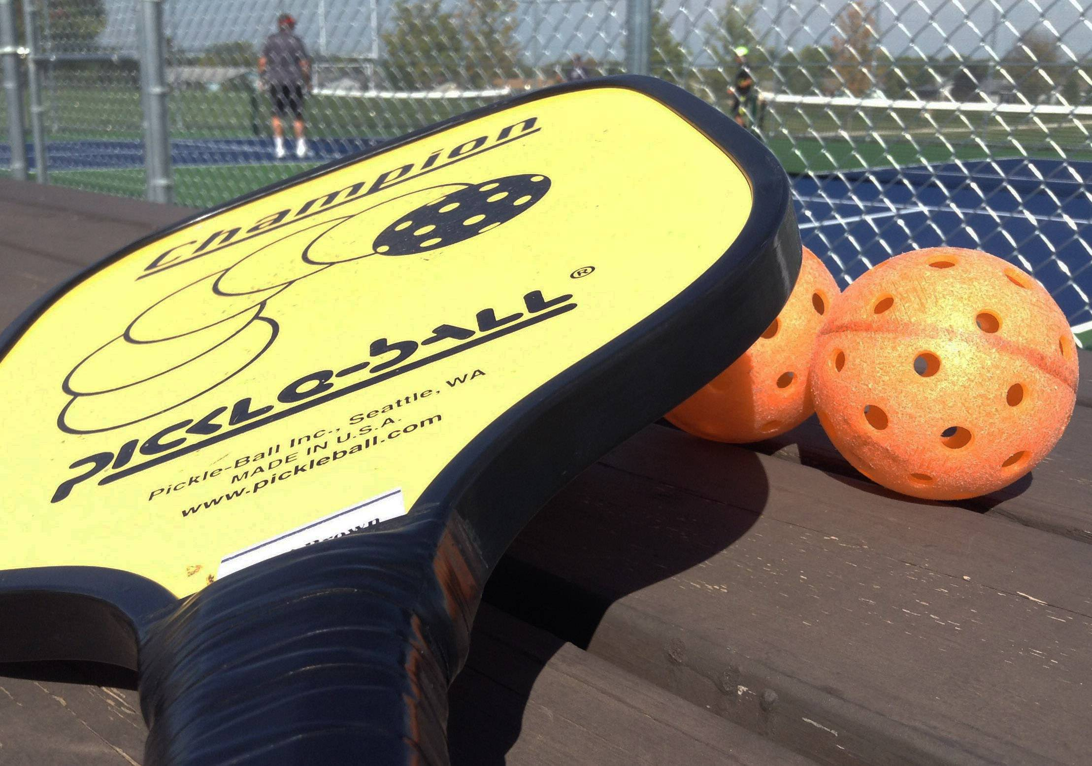 Pickleball equipment used at Behm Homestead Park in Fremont Township.