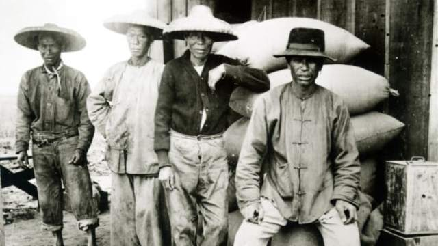 Chinese immigrants who helped build the Transcontinental Railway.