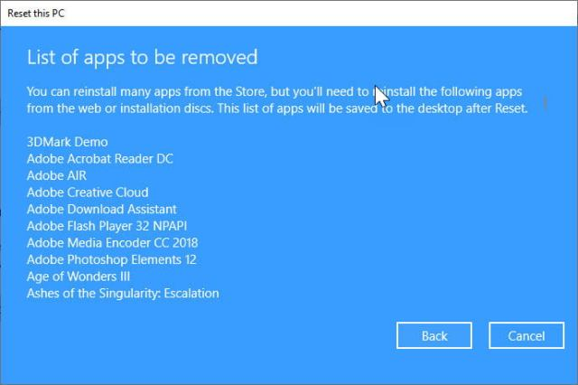 List of apps to be removed