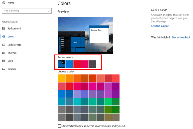 Windows 10 Colors