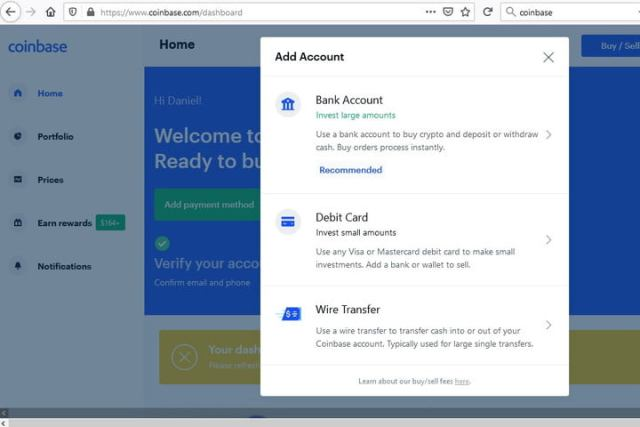 Image of Coinbase Add Payment Method Page