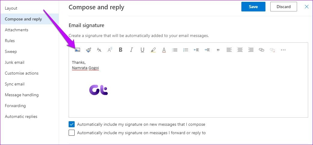 Here is How To Add Picture To Signature In Outlook Web App 3