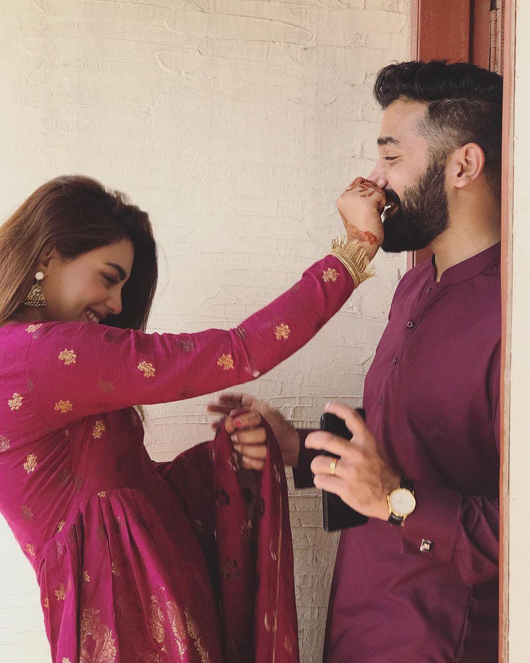 Beautiful Anumta Qureshi Clicks with her Husband