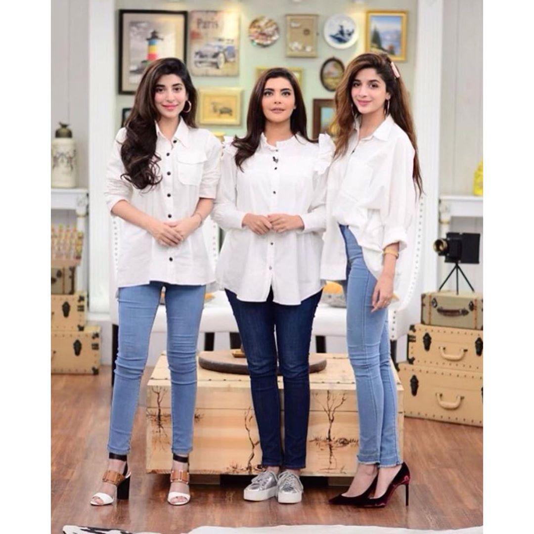 Urwa Hocane & Mawra Hocane Beautiful Clicks From Good Morning Pakistan Show