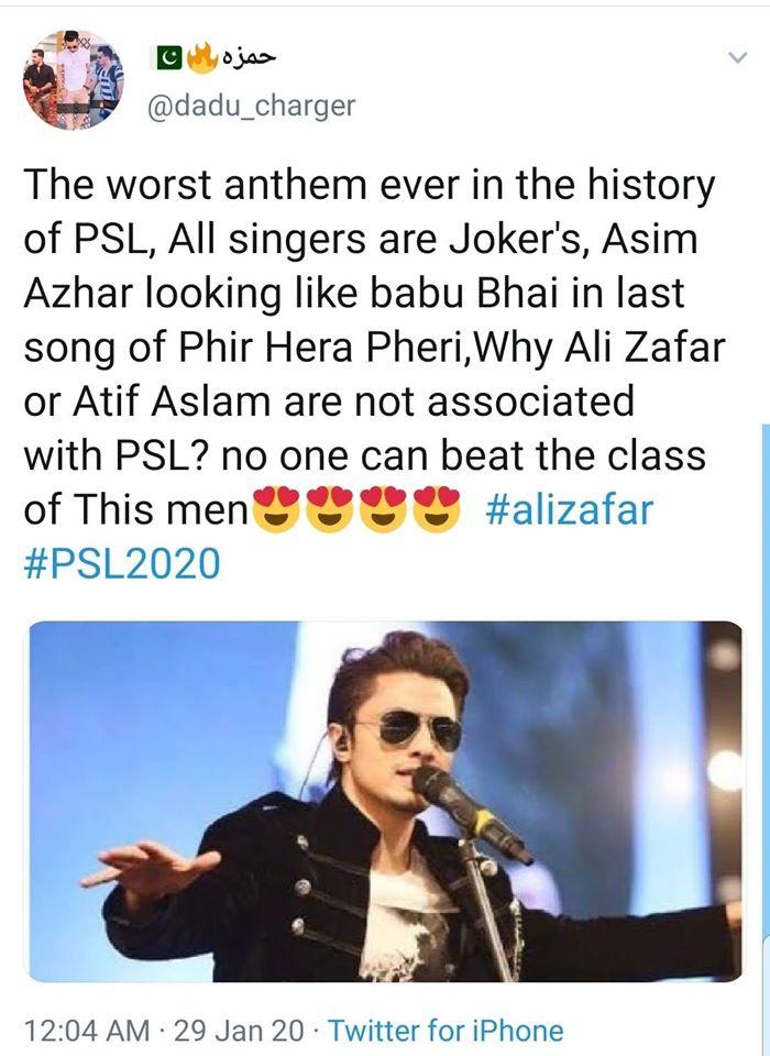 Twitteratis Reaction On Asim Azhar's Part In PSL Anthem