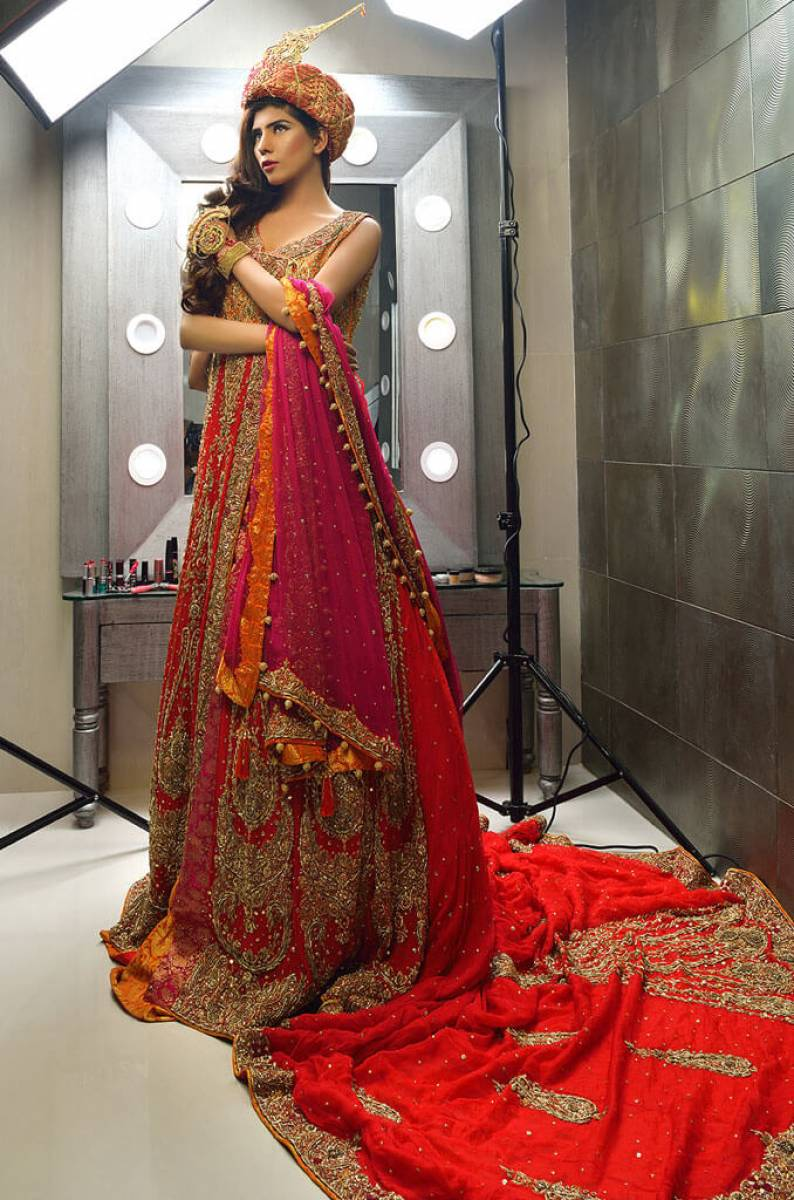 Colorful Pakistani Wedding Dress by Designer Maha Osman