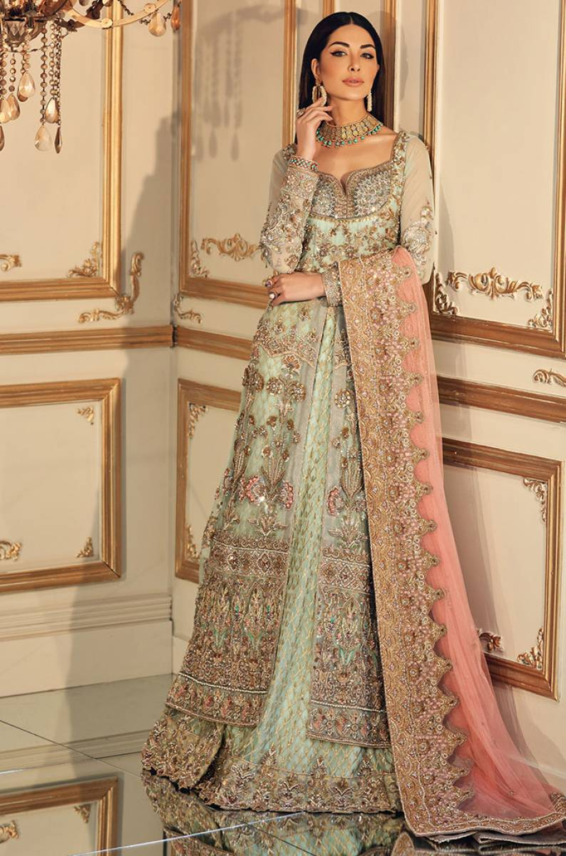 Front Open Bridal Gown by Pakistani Designer