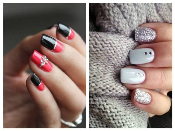 nail designs with Glitter and Rhinestones