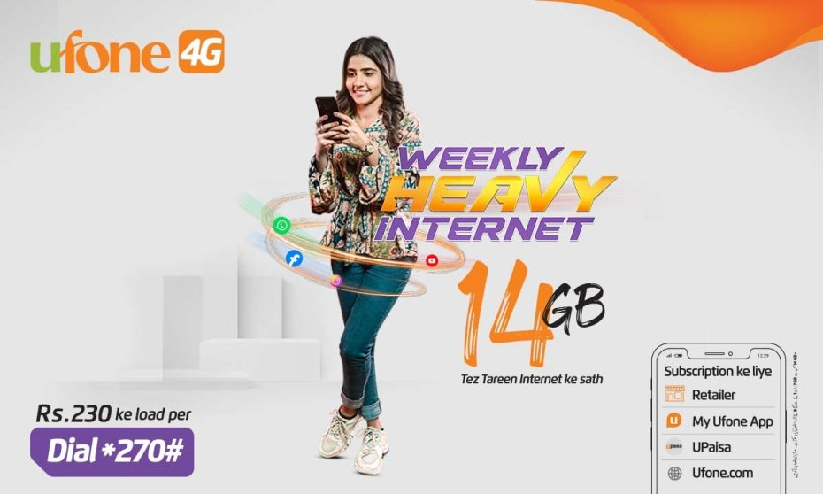 Enjoy uninterrupted connectivity with Ufone's Weekly Heavy Internet Package