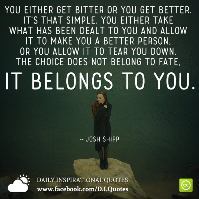 You either get bitter or you get better. It's that simple. You either take what has been dealt to you and allow it to make you a better person, or you allow it to tear you down. The choice does not belong to fate, it belongs to you. ~ Josh Shipp
