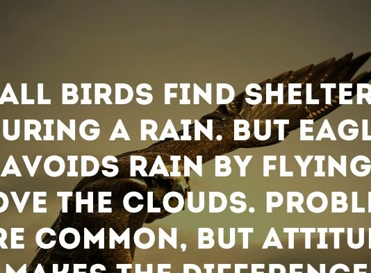 All Birds find shelter during a rain. But Eagle avoids rain by flying above the Clouds. Problems are common, but attitude makes the difference. - Dr. A.P.J. Abdul Kalam