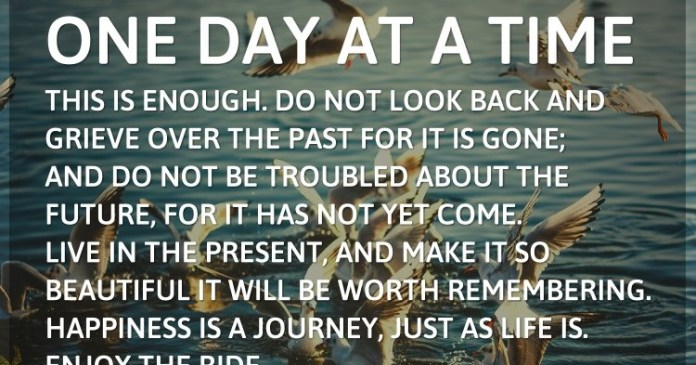 One day at a time—this is enough. Do not look back and grieve over the past for it is gone; and do not be troubled about the future, for it has not yet come. Live in the present, and make it so beautiful it will be worth remembering. Happiness is a journey, just as life is. Enjoy the ride. – Ida Scott Taylor