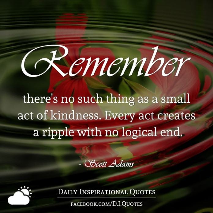 Remember there's no such thing as a small act of kindness. Every act creates a ripple with no logical end. - Scott Adams