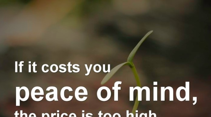 If it costs you peace of mind, the price is too high.