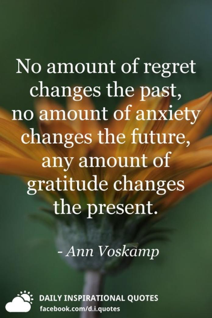 No amount of regret changes the past, no amount of anxiety changes the future, any amount of gratitude changes the present. - Ann Voskamp