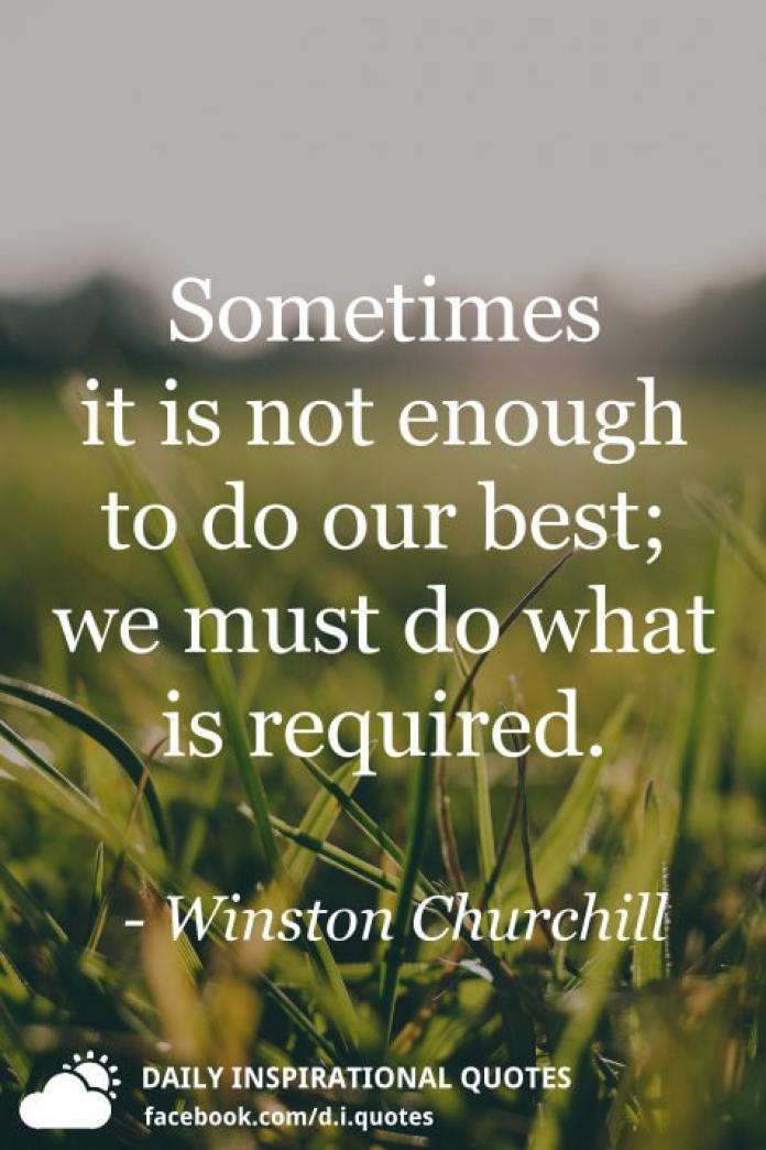 Sometimes it is not enough to do our best; we must do what is required. - Winston Churchill