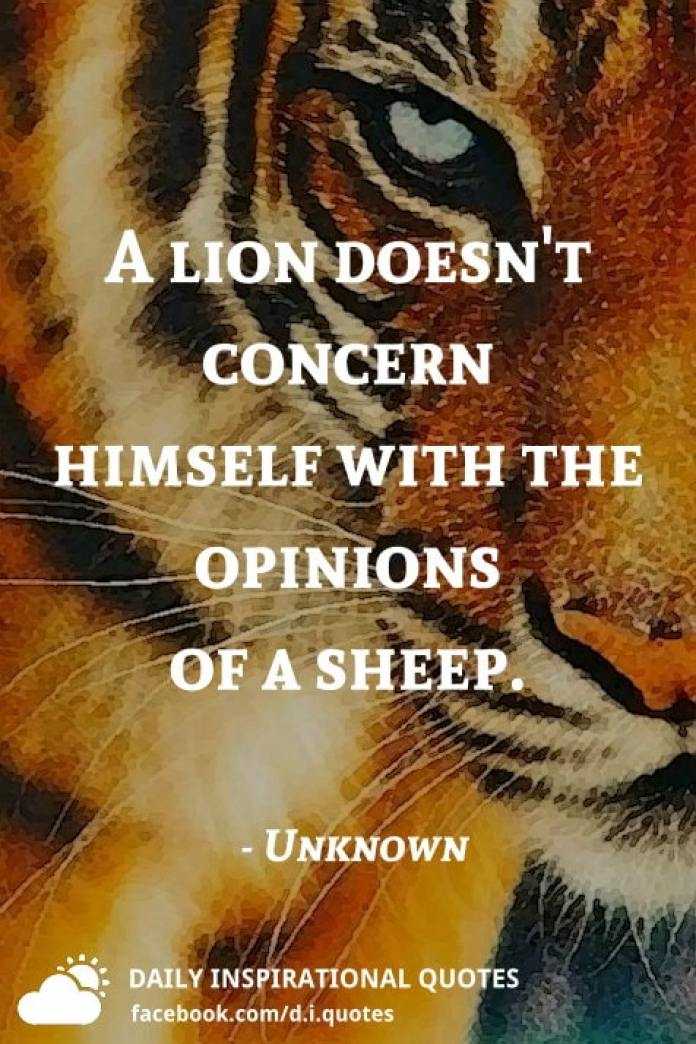 A lion doesn't concern himself with the opinions of a sheep. - Unknown