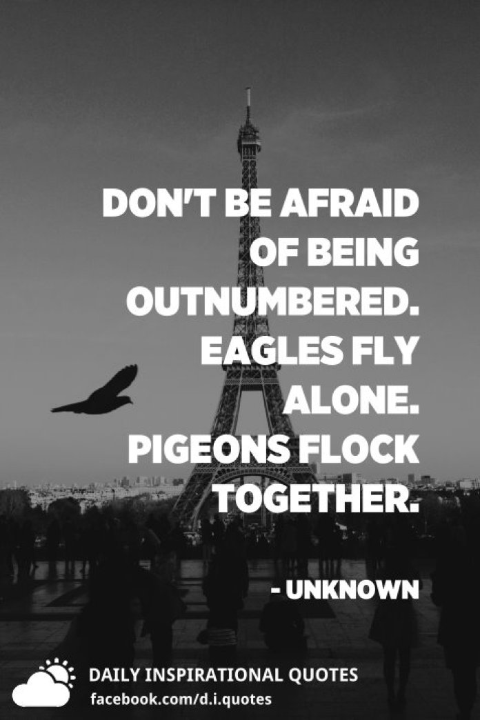 Don't be afraid of being outnumbered. Eagles fly alone. Pigeons flock together. - Unknown