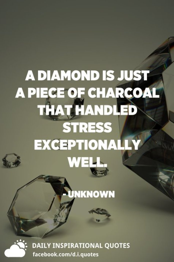 A diamond is just a piece of charcoal that handled stress exceptionally well. - Unknown