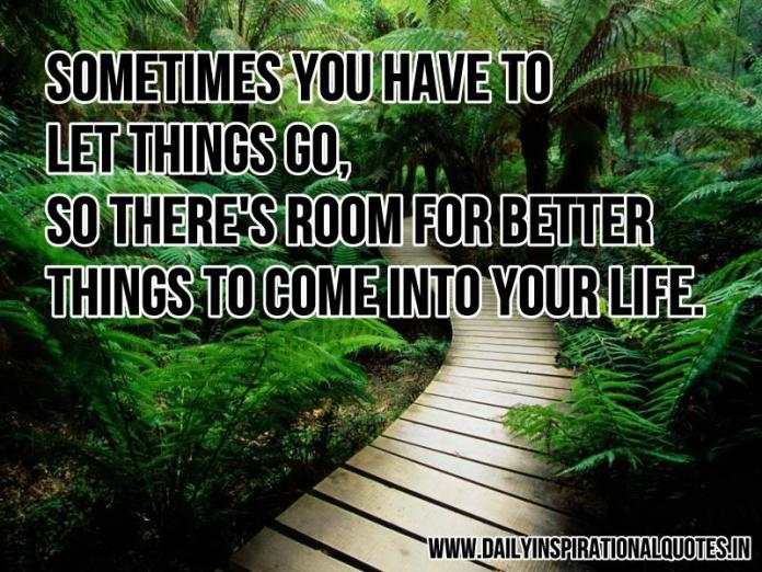 Sometimes you have to let things go, so there's room for better things to come into your life. ~ Anonymous