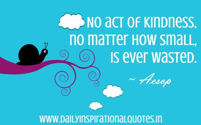 No act of kindness, no matter how small, is ever wasted. ~ Aesop