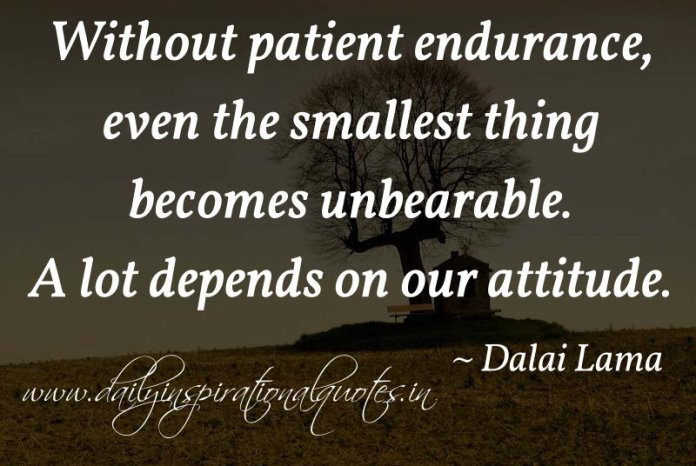 Without patient endurance, even the smallest thing becomes unbearable. A lot depends on our attitude. ~ Dalai Lama