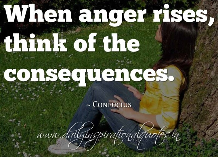 When anger rises, think of the consequences. ~ Confucius