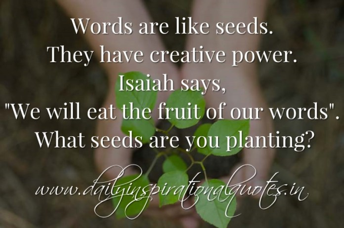 Words are like seeds. They have creative power. Isaiah says, We will eat the fruit of our words. What seeds are you planting? ~ Anonymous