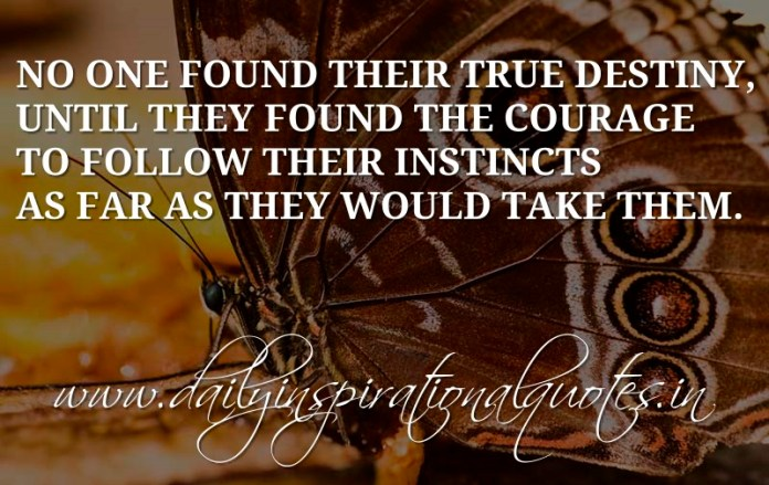 No one found their true destiny, until they found the courage to follow their instincts as far as they would take them. ~ Anonymous