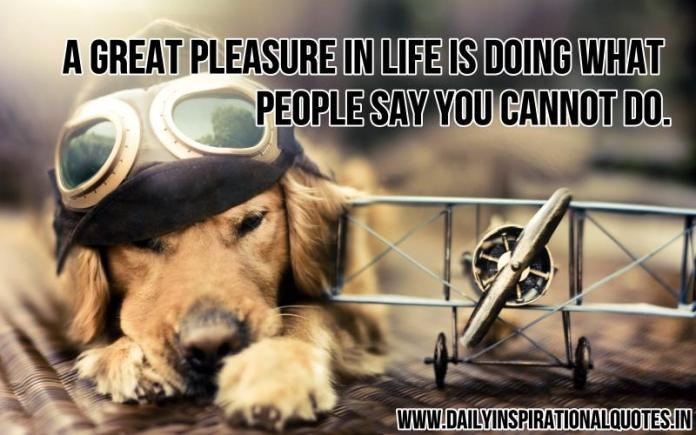 A great pleasure in life is doing what people say you cannot do. ~ Anonymous
