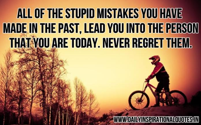 All of the stupid mistakes you have made in the past, lead you into the person that you are today. Never regret them. ~ Anonymous